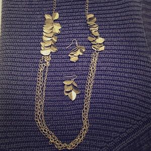 Long silver leaf necklace and earrings